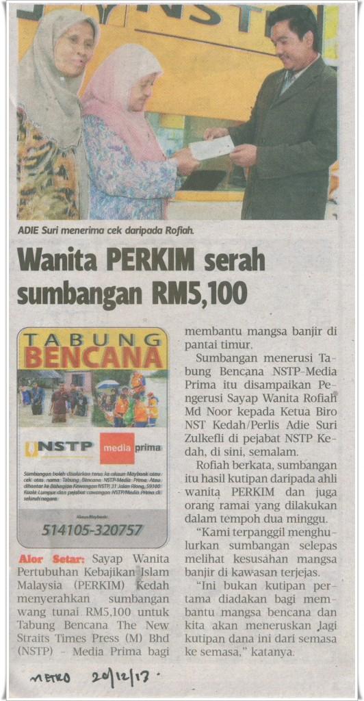WANITA PERKIM SERAH SUMBANGAN RM5100