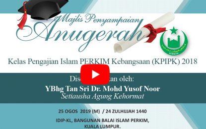 Majlis Penyampaian Anugerah Kelas Pengajian Islam PERKIM Kebangsaan
