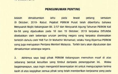 PENGUMUMAN PENTING ! Mesyuarat Agung Tahunan PERKIM Kebangsaan Kali Ke-58 DITUNDA